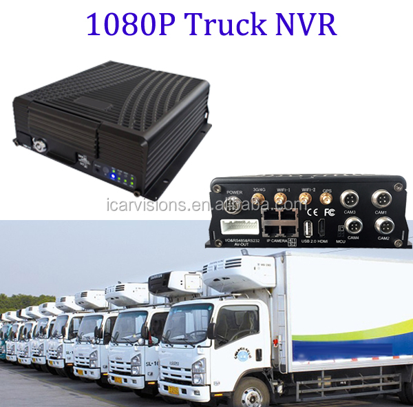 IP 1080P Mobile NVR with 3G WIFI GPS function support fatigue/fuel/temperature sensor and blackbox