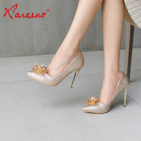 New arrival fashion 10cm high heel bridal shoes floral design wedding shoes for women