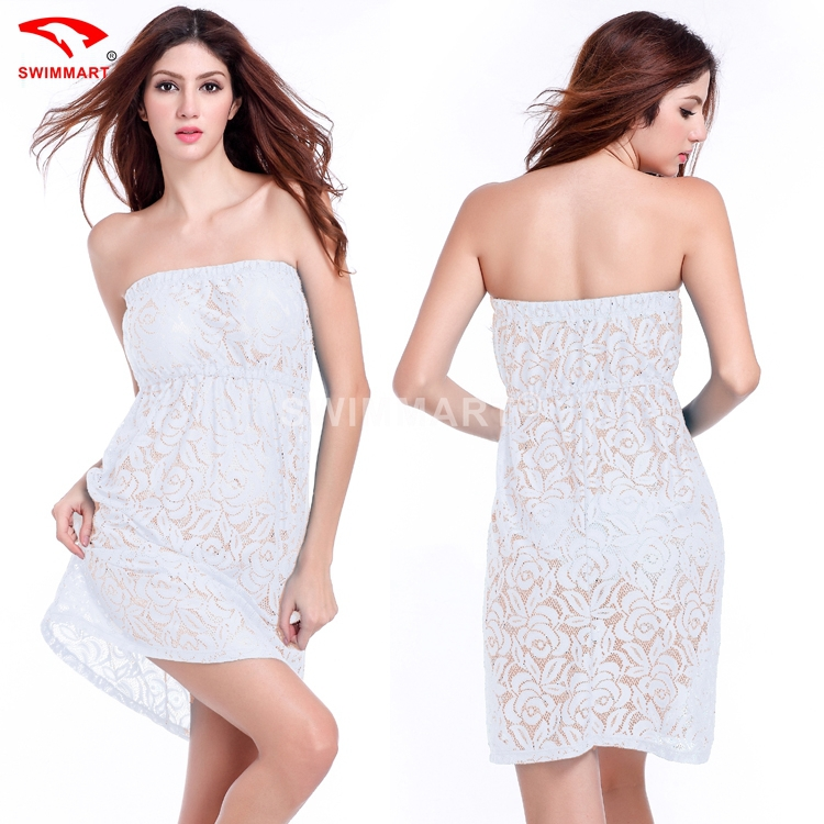 25ae97e755f Get Quotations · Fashion Women 2015 summer Style white beach Holiday dress  Sexy Perspective strapless dress Cute lace Crochet