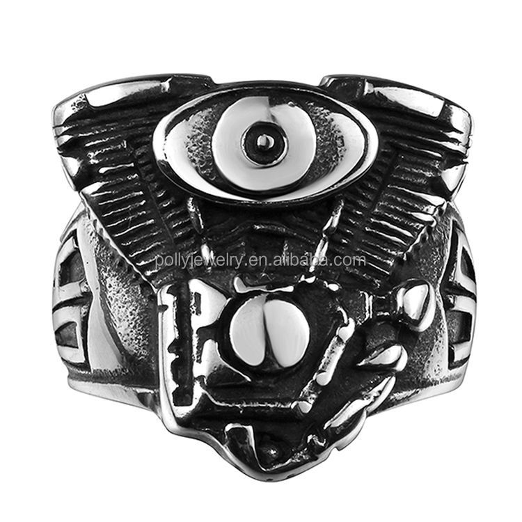 Men's Stainless Steel Large Size Rings Gothic Metal Vintage Death Evil Devil Stainless Steel Biker Ring