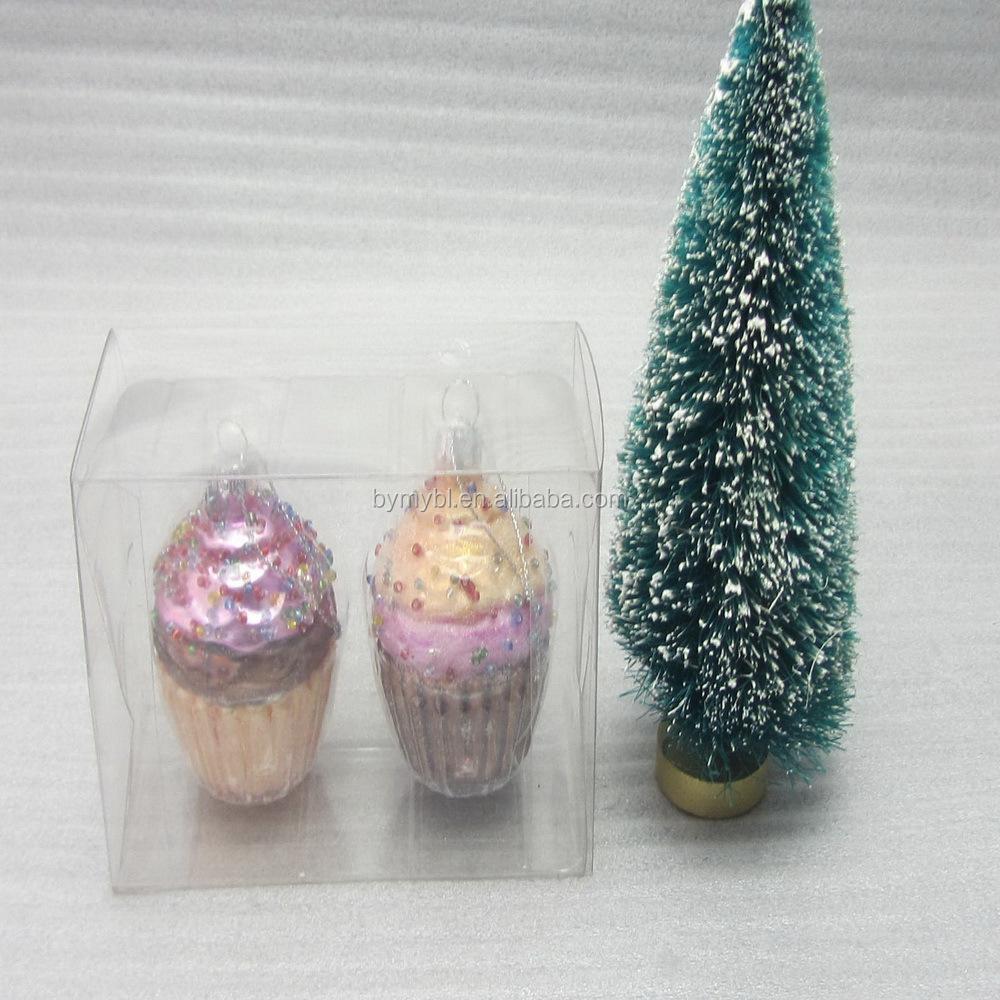 Cupcake Shape Glass Hanging Christmas