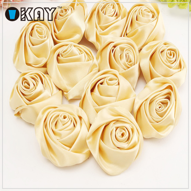Handmade Make Artificial Silk Ribbon Flowers For Girls Dress