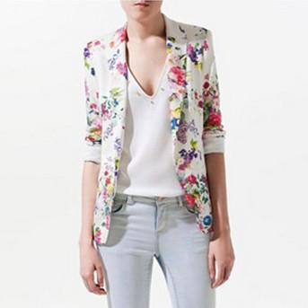 Пиджак женщины цветочный принт пиджак Feminino свободного покроя костюм куртка одна пуговица женщины пальто AS032