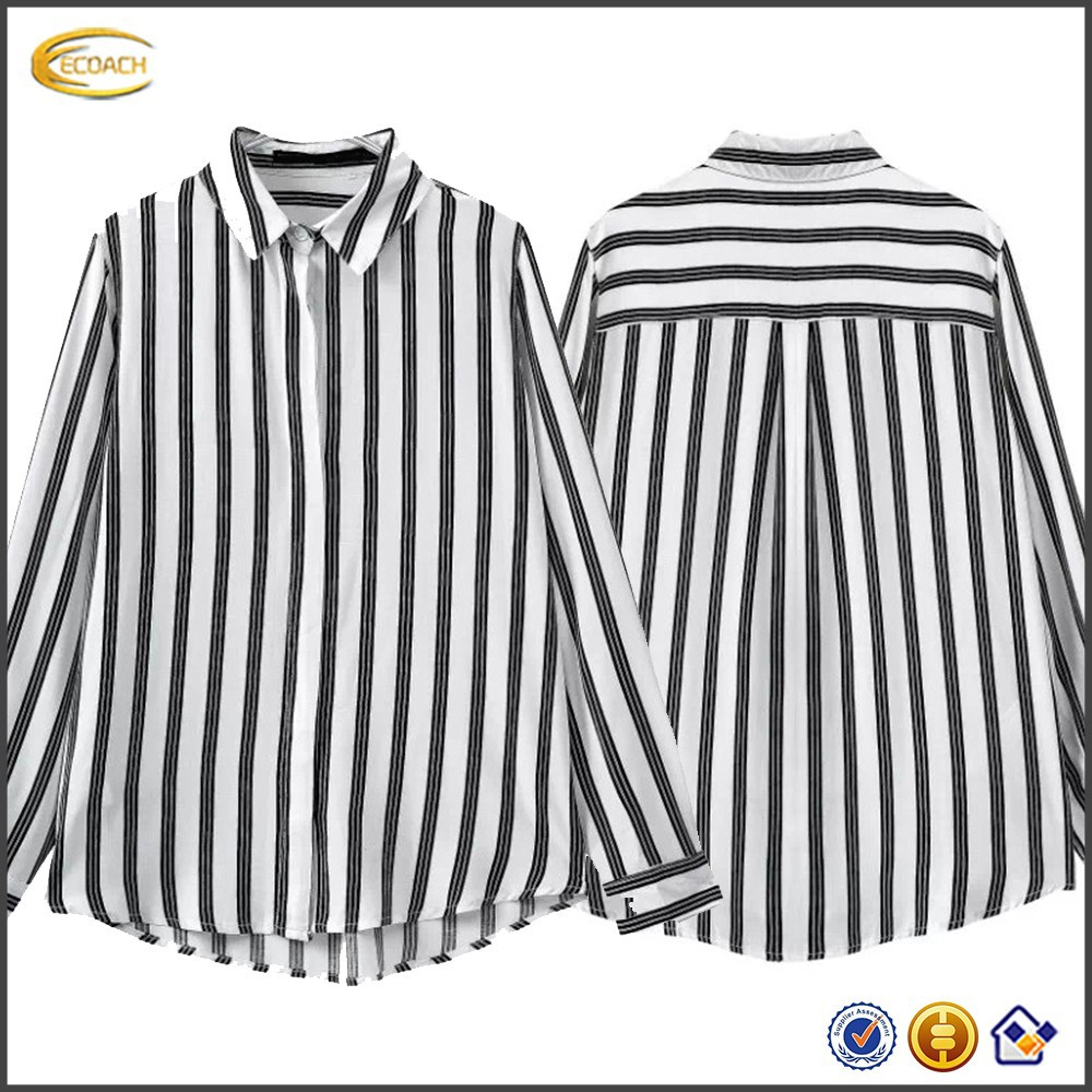 Ladies Black And White Vertical Striped Shirt | Saddha