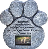 Resin Paw Print Pet Memorial Stone with Picture Frame