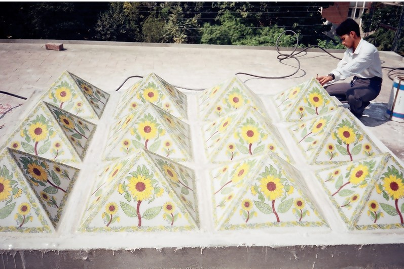 Fiberglass canopies with sun flowers print