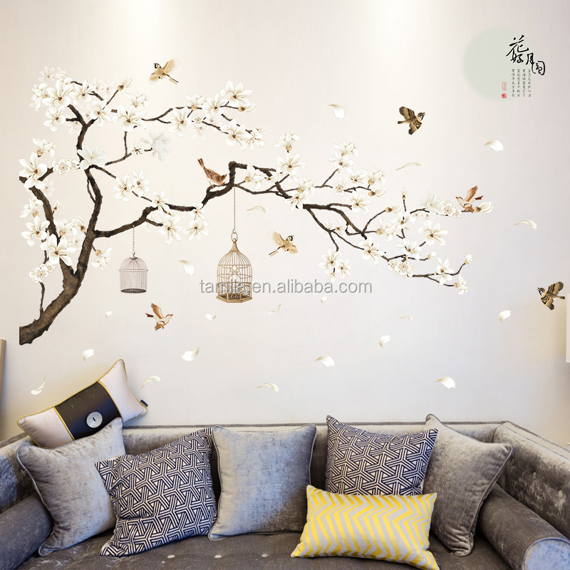Large Size Cherry Blossoms Tree Bird Wall Sticker Vinyl Art Decal S Bedroom Living Room Decor Decorative Mural Home Plastic
