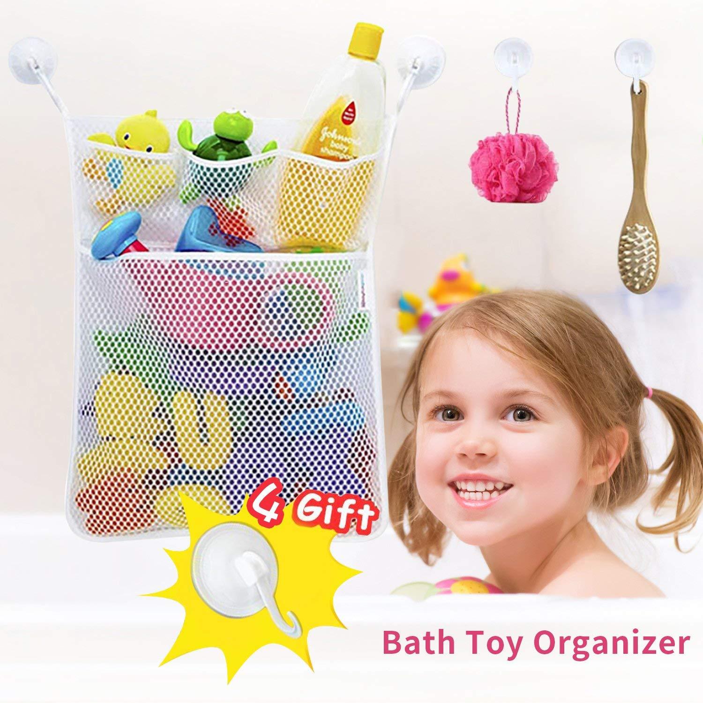 HOMOFY Bath Toy Organizer-Massive Quick Dry Bathtub Mesh Net-Multi-Use Baby Toy Storage Bin+4x Soap Pockets 4x Ultra Strong Hooks-Perfect Bathtub Toys & Bathroom Storage For Kids,Toddlers & Baby