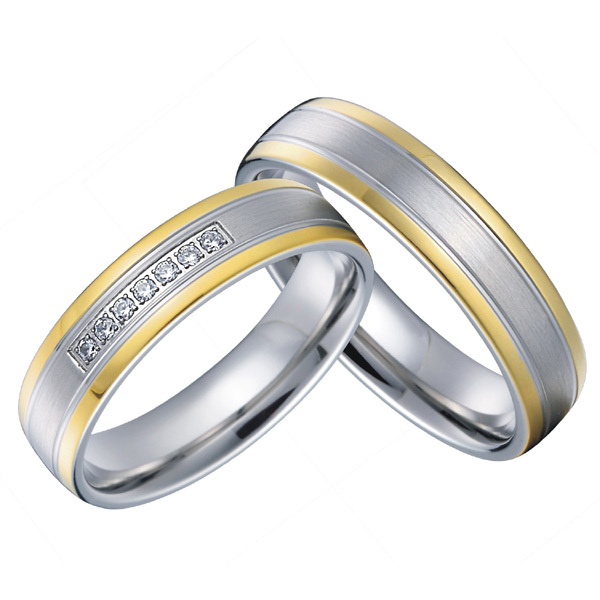 19daff0af97df8 Get Quotations · luxury custom lovers engagement wedding rings sets for men  and women 18k gold plated health titanium