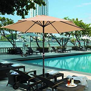 GotHobby 8ft Outdoor Patio Umbrella Aluminum w/ Tilt Crank - Tan