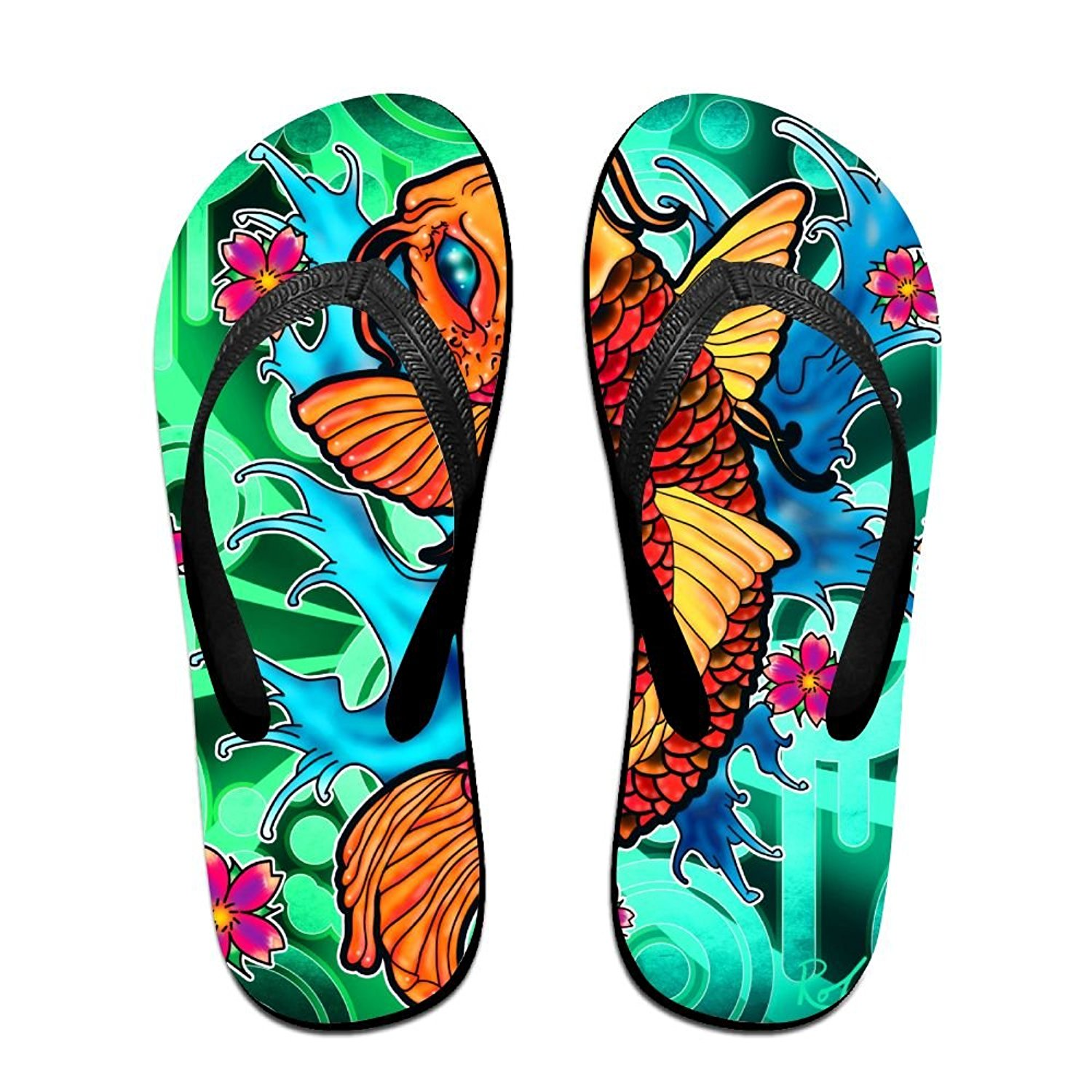 8967417700dc Get Quotations · Retro Pink Scale Goldfish Fun Flip Flops Thong Sandals