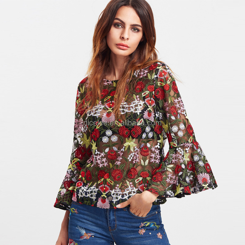 NS1331 wholesale european fashion lady floral embroidery fashion women trumpet sleeves ladies transparent net tops