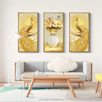 Modern home decoration painting American Golden Peacock triptych sofa background wall canvas painting