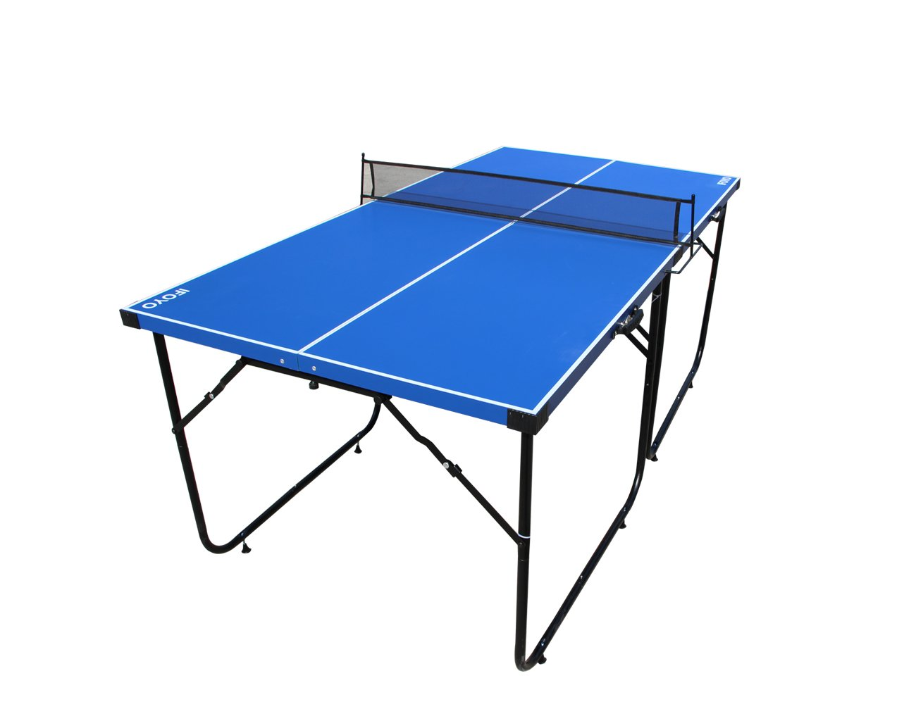 IFOYO Table Tennis Table, 6ft Midsize Ping Pong Table 4-Piece Folding Portable Indoor Outdoor Tennis Table with Net Set for Adults, Kids, Quick Assembly, Blue