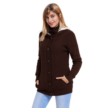 Winter Warme Kleding Lange Mouwen Button-up Hooded Vesten