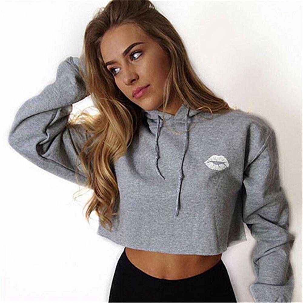 Trendyest Women Hoodie Sweatshirt Jumper Crop top Coat Sports Pullover Tops