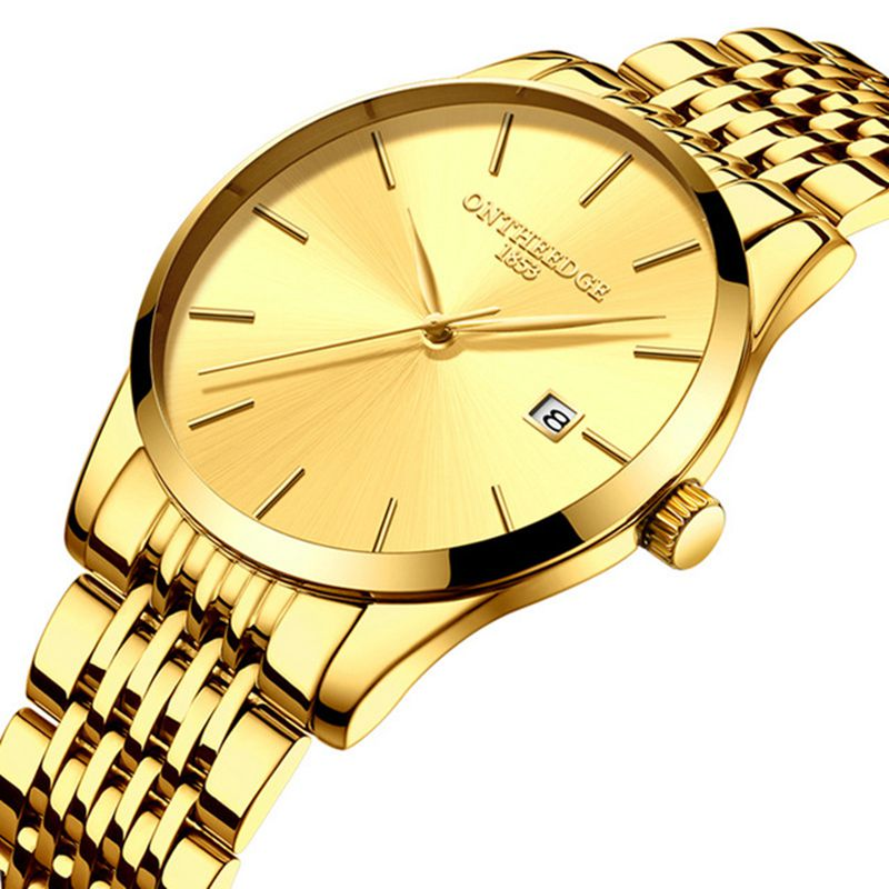 ONTHEEDGE mens wristwatches luxury black blue gold stainless steel man watches waterproof calendar original men's watch RZY023