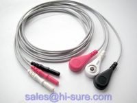 Medical cable 3 lead ecg connector for ECG equipment,ECG conductive electrode cable