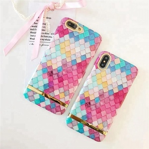 Korea same style golden edge mermaid scales phone case for iphone x,IMD  hard phone case for iphone 7