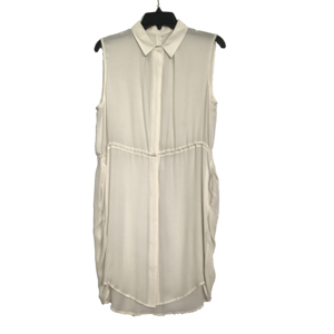 Gorgeous Pure Silk Dobby Georgette Turn Down Collar Shirt Sleeveless Dress Design For Women