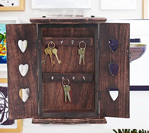 Wooden Key Cabinet with Flower Carving Key Holder, Heart Shape Design key holder, Key Holder Box, Key Organizer Rack, Wooden Key Holder for Wall, 10 Inch, Easter Day / Mother Day / Good Friday Gift