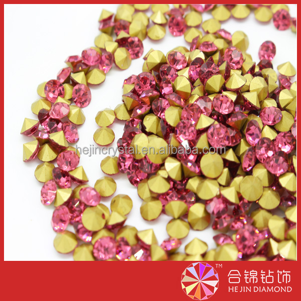 Hot fix rhinestone rose crystal high quality chaton for ornaments trimming