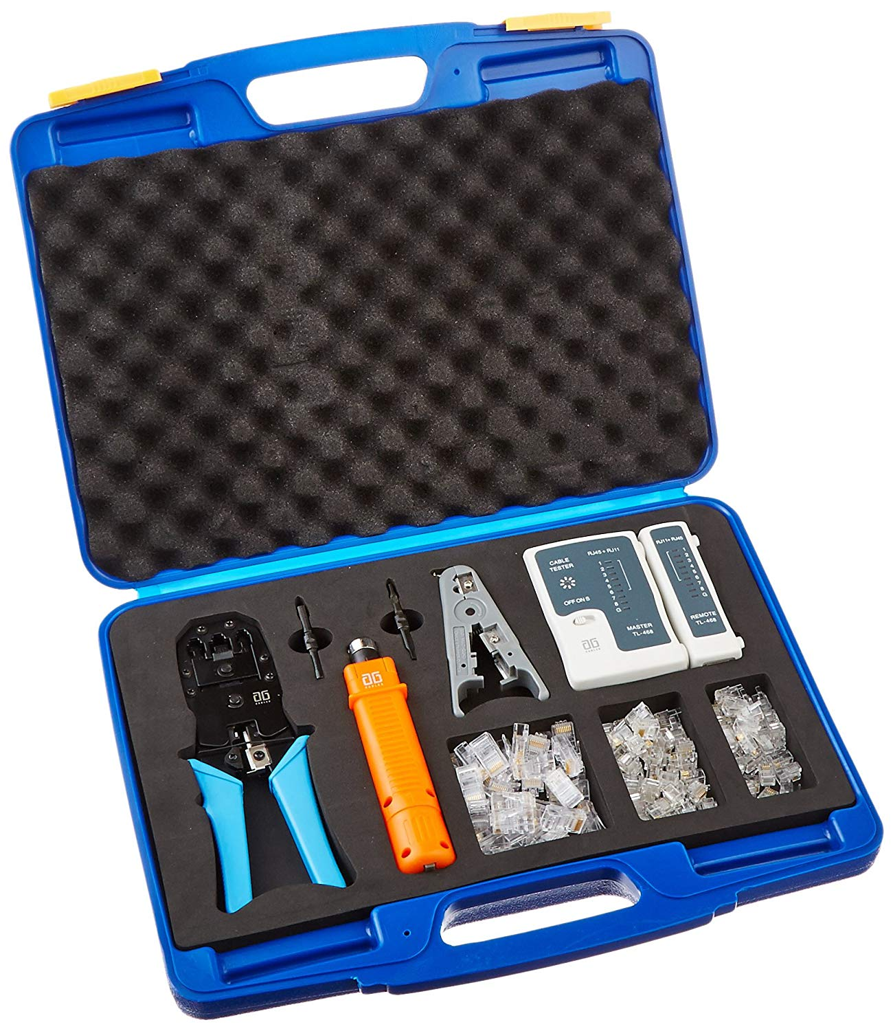 AG Cables AGC-K315A Professional Networking Tool Kit with Cable Tester, Punch Down Tool, Cable Stripper