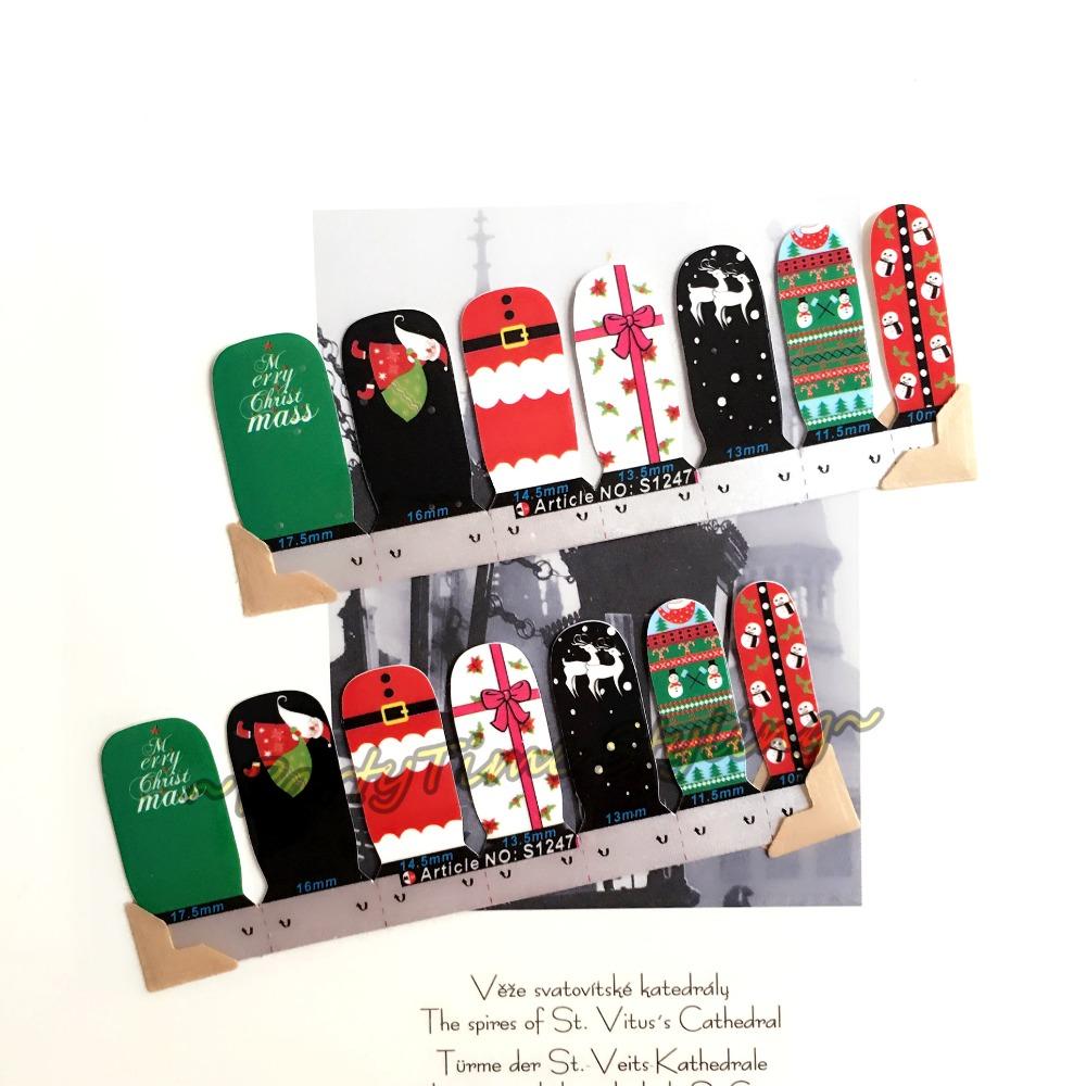 Merry Xmas Santa Claus Nail Art Sticker Patch 14 pcs set Waterproof Decals Foils Gel Polish