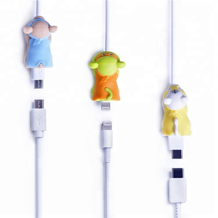 Phone Accessory Cable Balcony For iPhone Cute Cartoon USB Cable Protector Cable Animal Bite
