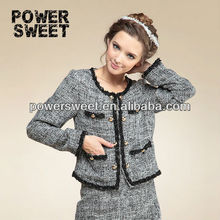new model of women fashion design lace worsted golden button overcoat