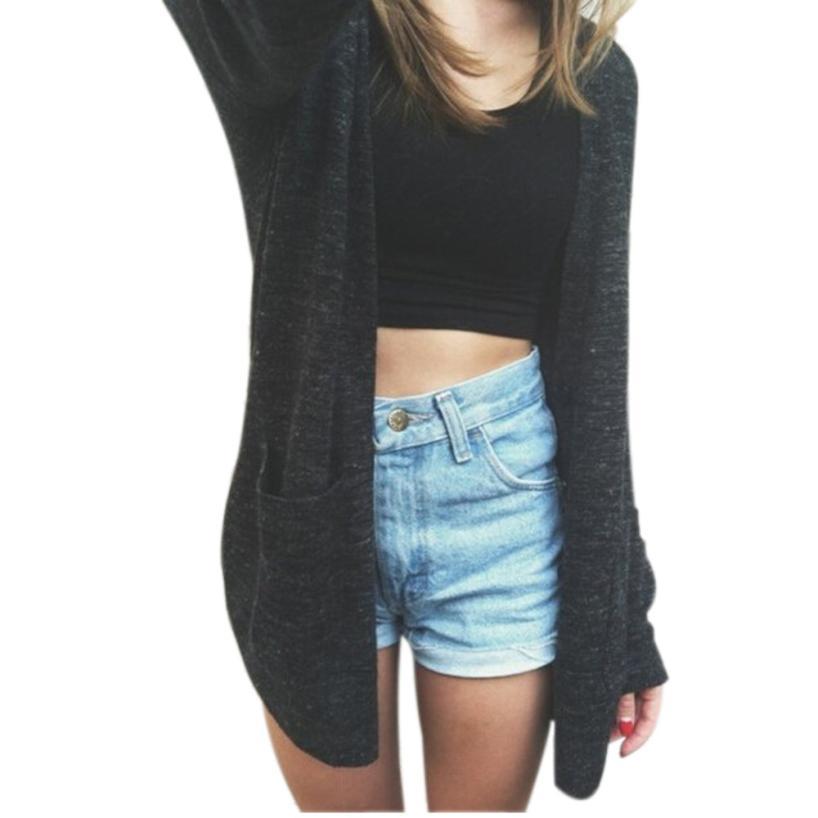JECKSION Women Long Sleeve Sweater Knitted Cardigan 2016 Fashion Loose Sweater Outwear Jacket Coat Y1207