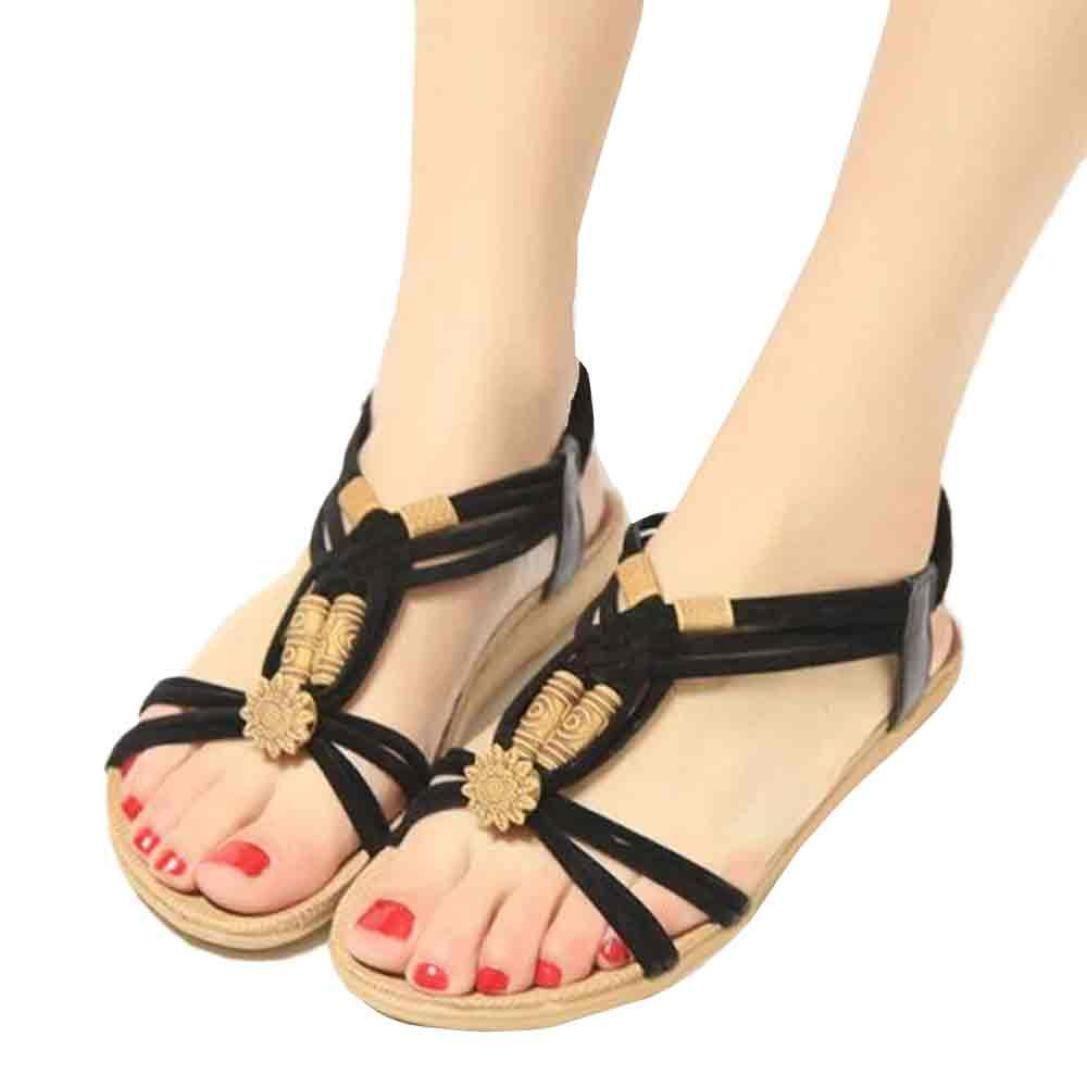 Hunputa Summer Bohemia Sweet Beaded Sandals Clip Toe Sandals Beach Shoes