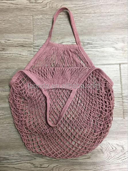 Lightweight cotton mesh string beach tote bag