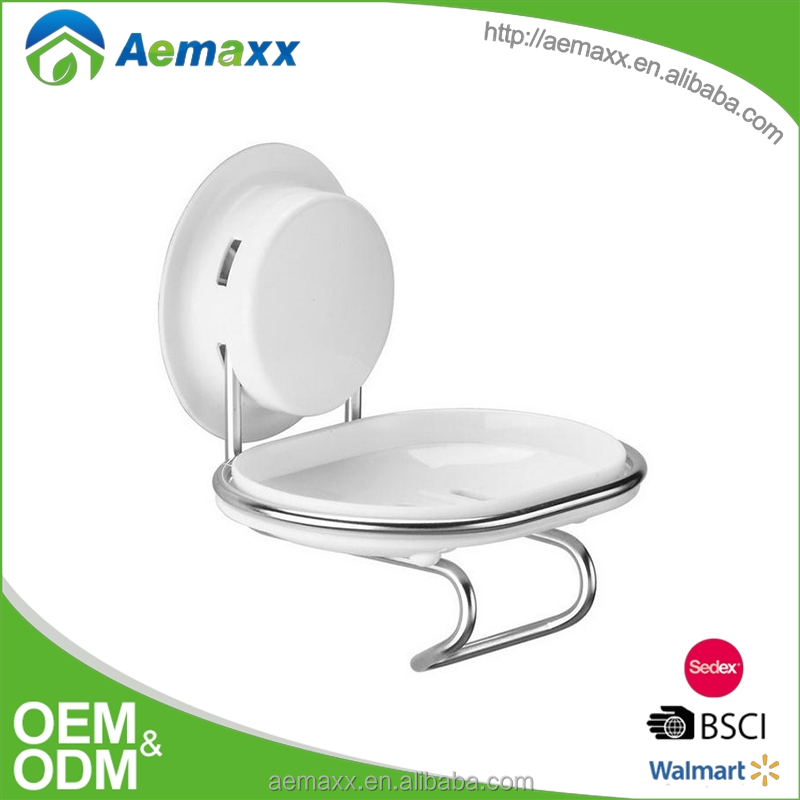 Wall mount soap dish with stainless steel frame and ABS suction cup