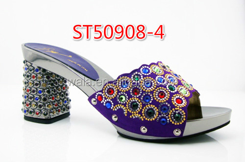 purple Women african Sandals stone dresses heel square 4 upper with shoes slippers ST50908 YwYqSR