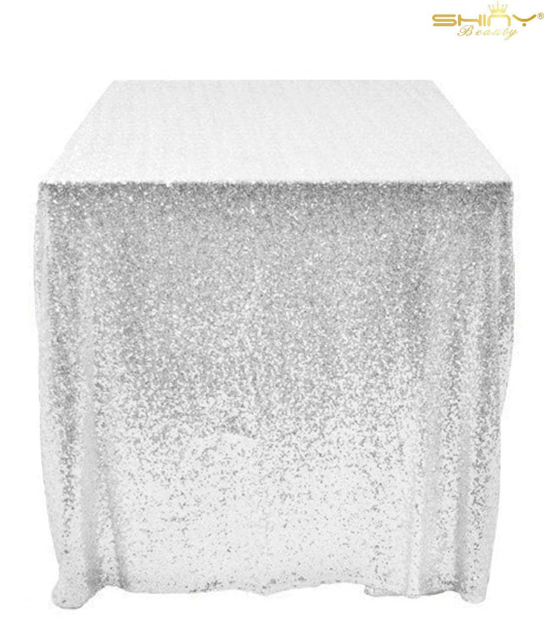 48x48-Inch Square-Sequin Tablecloth-Silver, 2017 Sequin Table Cloth/Overlay/Cover Glitz Table Linen (Silver)