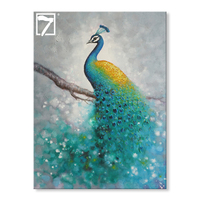 Modern Handmade Peacock Oil Painting on Canvas