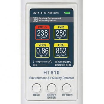 HT610 Air Quality Detector / Indoor Air Quality Meter For Home PM2.5 PM10 TVOC CO2