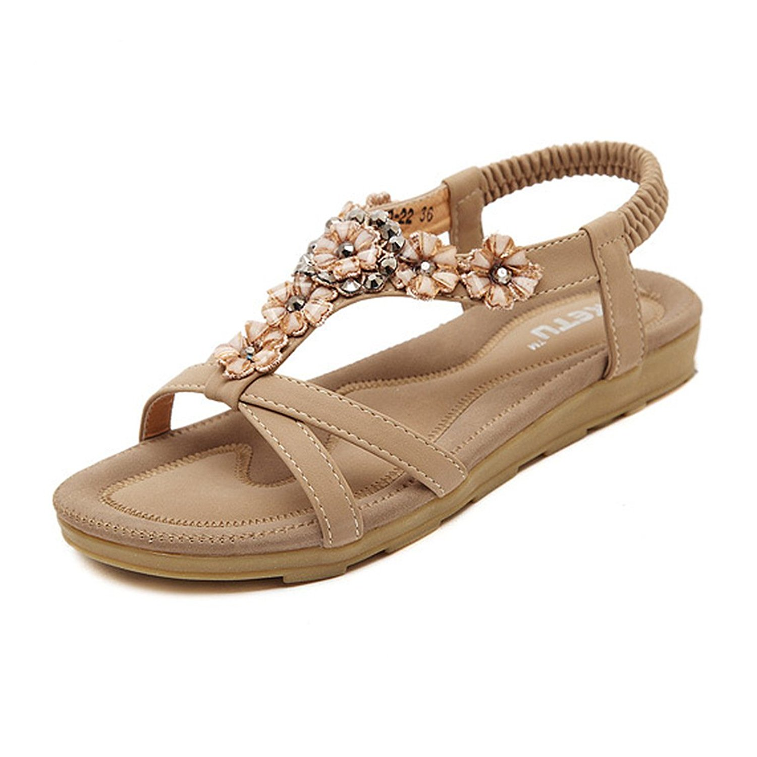 5356c29d7ffec Get Quotations · Temofon Summer Women s Sandals Braided T-Strap Gladiator  Bohemian Beaded Flower Rhinestone Flat Beach Flip