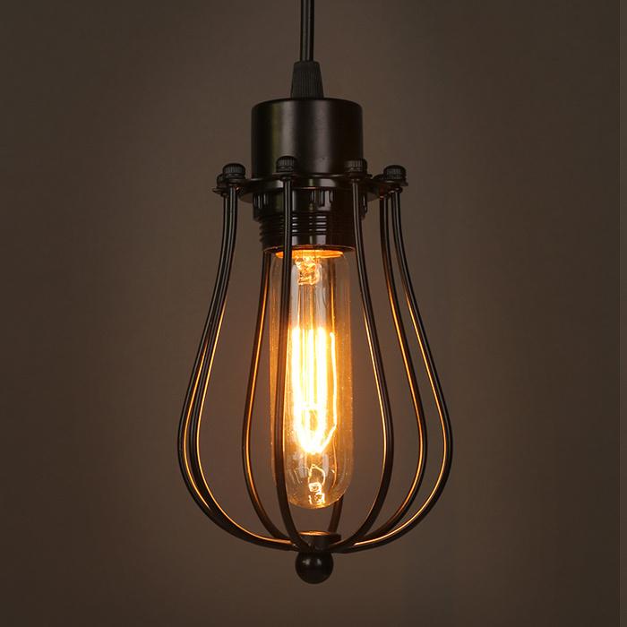 buy vintage loft lustre pendant lights industrial cage pendant lamps bar. Black Bedroom Furniture Sets. Home Design Ideas