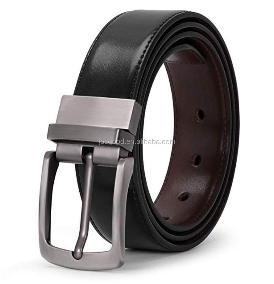 Men's Black Brown Double Side Reversible Rotated Buckle  Leather Reversible Belt for Men