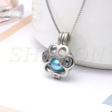 Wholesale Children's Gift Animal Jewelry Dog Paw Locket S925 Sterling Silver Pearl Cage Pendant