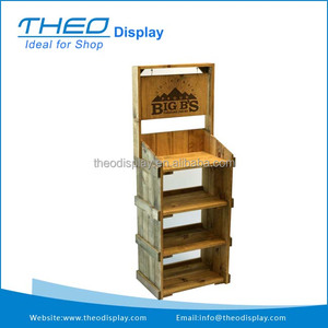 Retail wood bread floor display rack for grocery stores