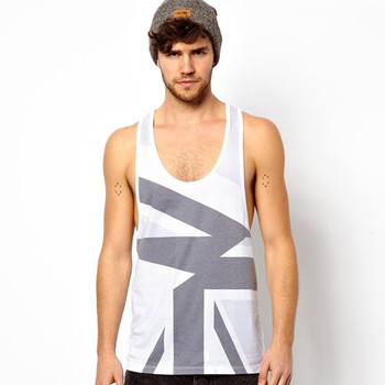 d1f0dd153b32c6 Abstract Union Jack Print Loose Fit Tank Tops For Men - Buy Loose Fit ...