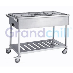 Restaurant or Hospital Good Price Stainless Steel Electric Bain Marie With Under Shelf And Trolley