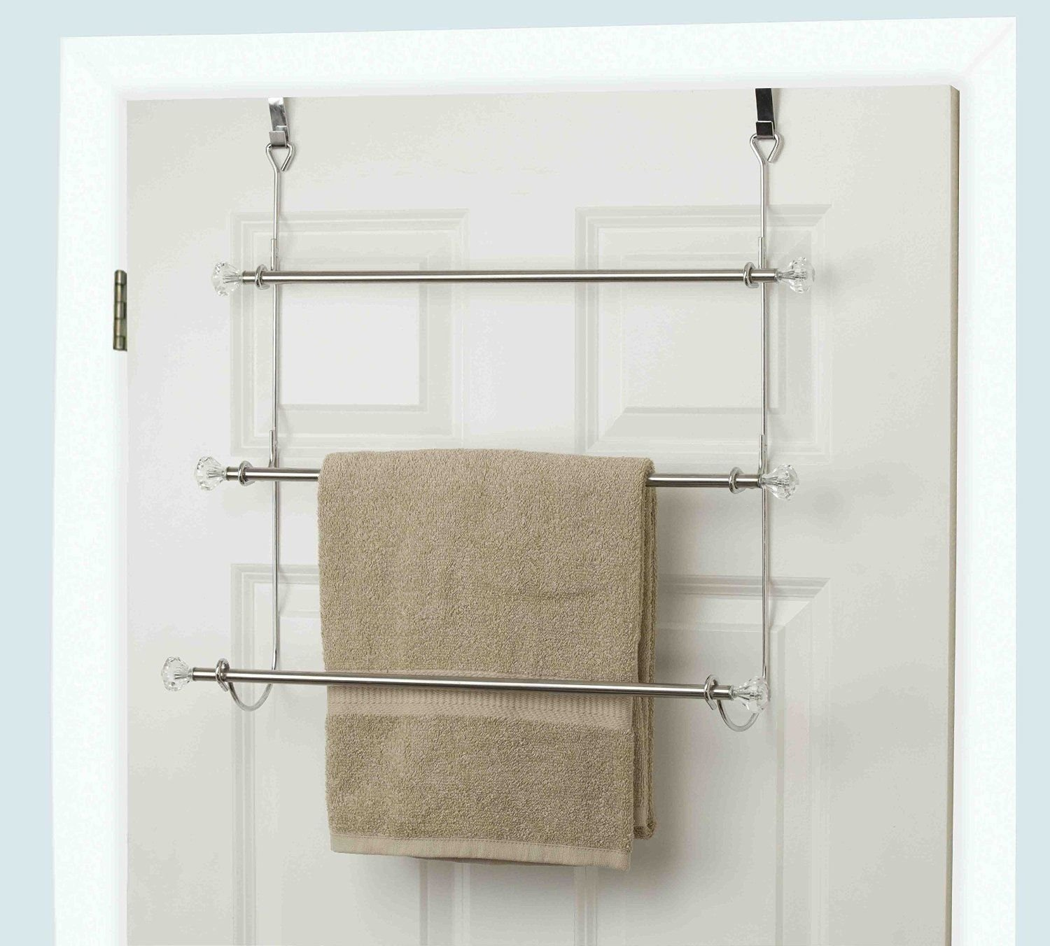 Chic-Product Heavy Duty Silver Chrome OTD 3 Tier Over The Door Towel Rack Holder Fits Over Most Standard Doors