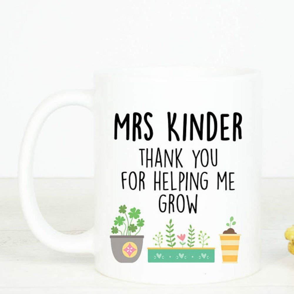 Best quality ceramic mug Personalised Teacher mug, Thank you for helping me grow coffee mug, lovely teacher gift, sweet present