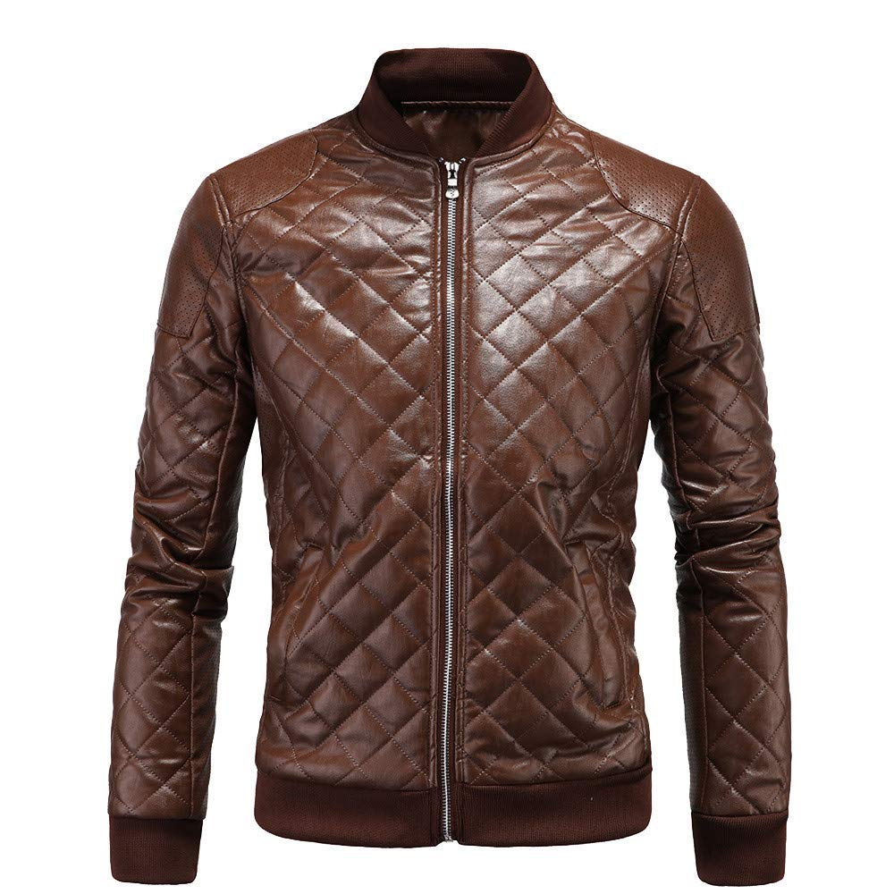 Mens Puffer Jacket,Thermal Leather Stand Neck Bomber Jacket Zipper Overcoat Sweater Biker Coat Zulmaliu