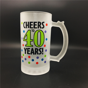 450ml /15oz Anniversary Party Used Frosted Beer Glass Mug with Customized Decal