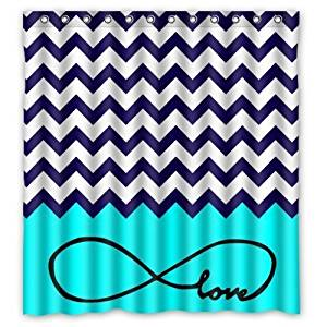 Hello 66x72 inches Love Infinity Forever Love Symbol Chevron Pattern 100% waterproof polyester Shower Curtain Rings Included